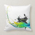 Abstract cool waters Paint Splatters Throw Pillows
