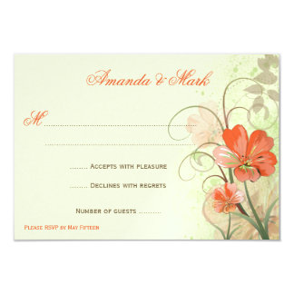"""Abstract Coral Lime Flowers Swirls Response Cards 3.5"""" X 5"""" Invitation Card"""