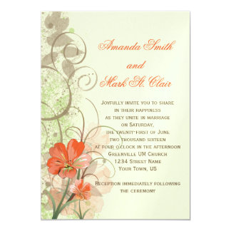 Abstract Coral Lime Flowers Swirls Wedding 5x7 Paper Invitation Card