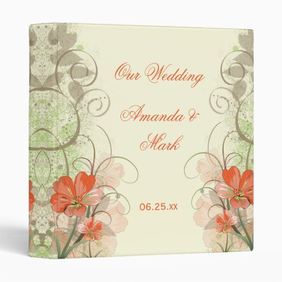 Abstract Coral Lime Tan Floral Wedding Album Binder