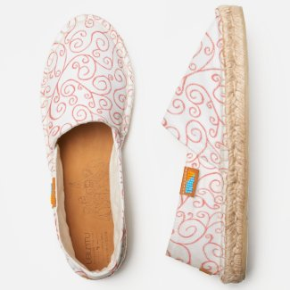 Abstract Coral Orange Scrolling Curves on White Espadrilles