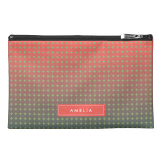 Abstract Coral & Teal Blend Monogram Accessory Bag