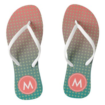 Beach Themed Abstract Coral Teal Color Blend Monogram Name Flip Flops