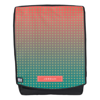 Abstract Coral & Teal Color Blend Personalized Backpack