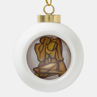 Abstract Couple Ceramic Ball Christmas Ornament