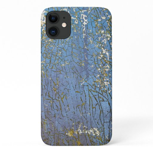 abstract cracked blue paint iPhone 11 case