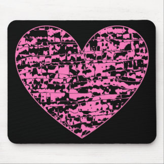 Abstract Crackle Heart Mouse Pad