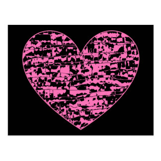 Abstract Crackle Heart Postcard