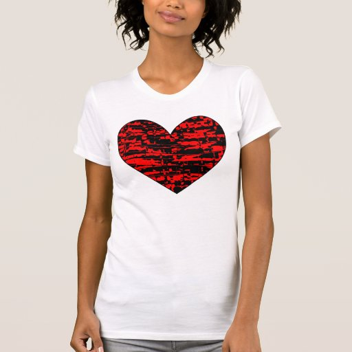 Abstract Crackle Heart Tshirts