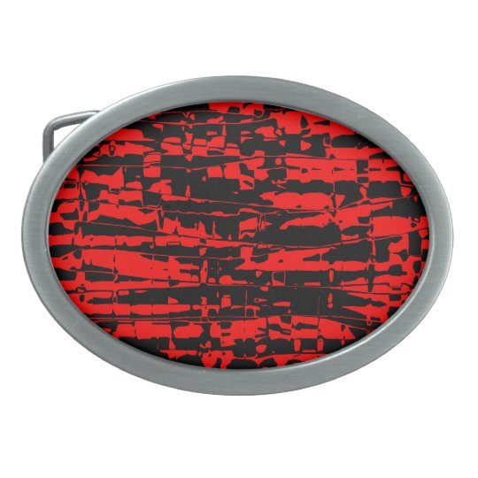 Abstract Crackle Oval Belt Buckle