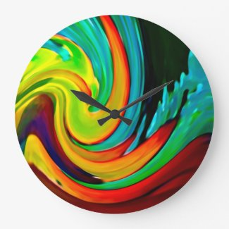 Abstract Crashing Wave Beach House Wallclock