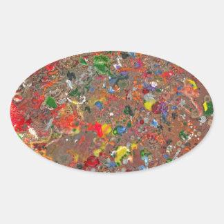 Abstract - Crayon - Montazuma's Revenge Oval Sticker
