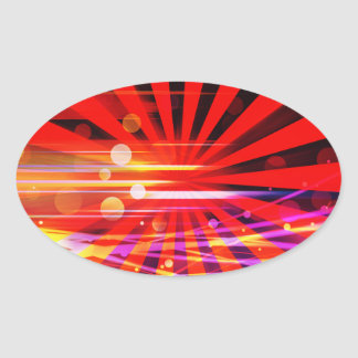 Abstract Crazy Light Ray Star Burst Pattern Oval Sticker