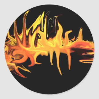 abstract creepy fire icicle design illustration classic round sticker