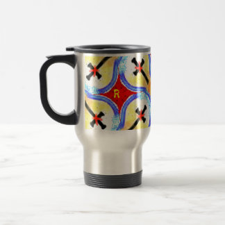 Abstract Cross Black Red Yellow Blue Color Patten Stainless Steel Travel Mug
