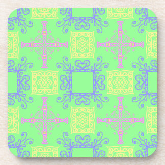 Abstract Cross Geometric Pastel Color Pattern Coaster