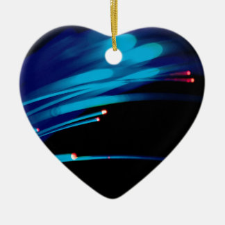 Abstract Crystal Reflect Fibre Double-Sided Heart Ceramic Christmas Ornament