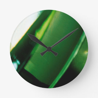 Abstract Crystal Reflect Green Fortune Clock