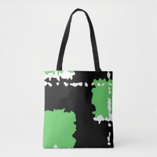 abstract crystallize design black green and white tote bag