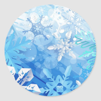 Abstract Crystals Blue Ice Classic Round Sticker
