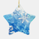 Abstract Crystals Blue Ice Double-Sided Star Ceramic Christmas Ornament