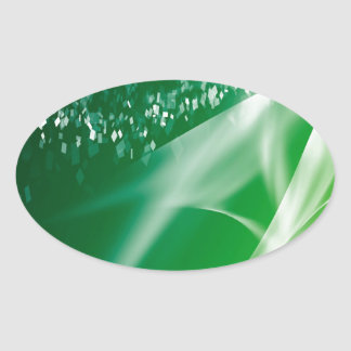 Abstract Crystals Green Twilight Oval Sticker