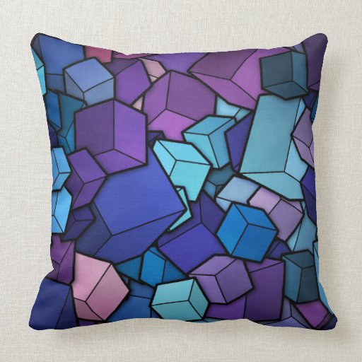 Abstract Cubes and Solid Black Throw Pillow Zazzle