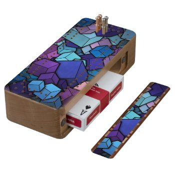 Abstract Cubes Wood Cribbage Board