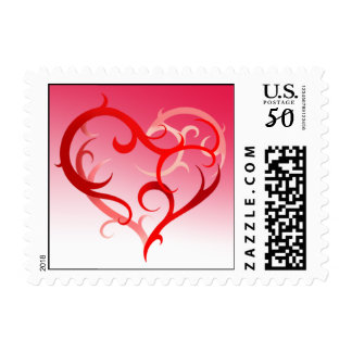 Abstract Curlique Heart | red pink Postage