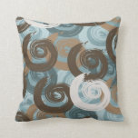 Abstract Curls Teal Throw Pillow