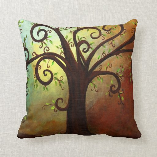 Abstract Curly Tree Pillow
