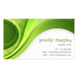 Abstract Curves - Green Business Card