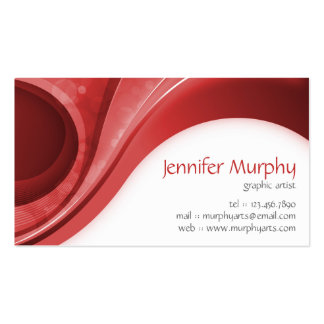 Abstract Curves - Red Business Card