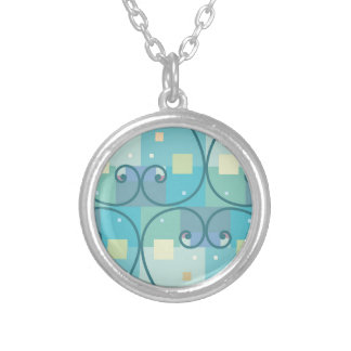 Abstract curves round pendant necklace