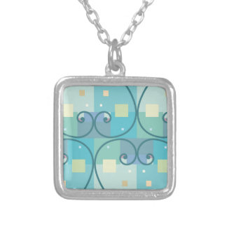 Abstract curves square pendant necklace