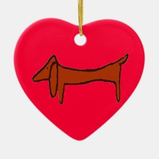 Abstract Dachshund Heart Ceramic Ornament