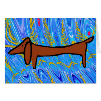 Abstract Dachshund in Blue Card