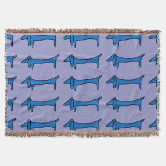 Abstract Dachshund in Blue Throw
