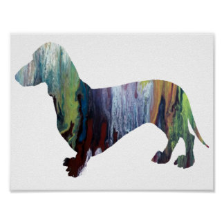 Abstract  Dachshund Silhouette Poster