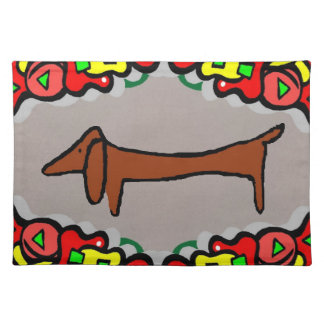 Abstract Dachshund, Weiner Dog Cloth Placemat