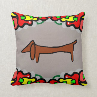 Abstract Dachshund, Weiner Dog Throw Pillow