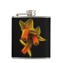 Abstract Daffodil Flowers Hip Flask