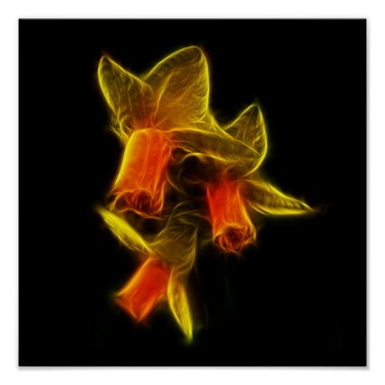 Abstract Daffodil Flowers Poster