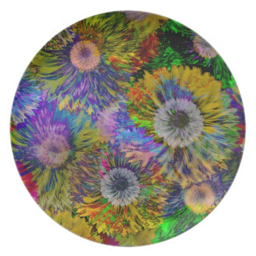 Abstract Dahlia Collage Dinner Plate
