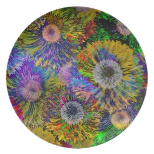 Abstract Dahlia Collage Melamine Plate