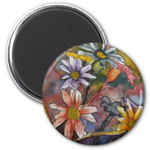 abstract daisy flowers watercolor painting art 2 inch round magnet