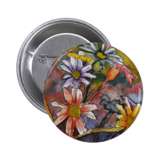 abstract daisy flowers watercolor painting art pinback button