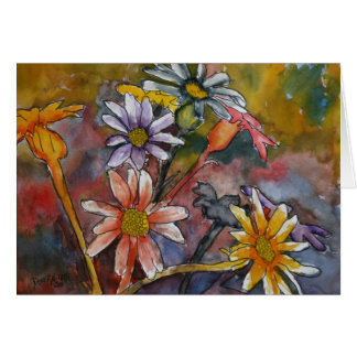 abstract daisy flowers watercolor painting art card