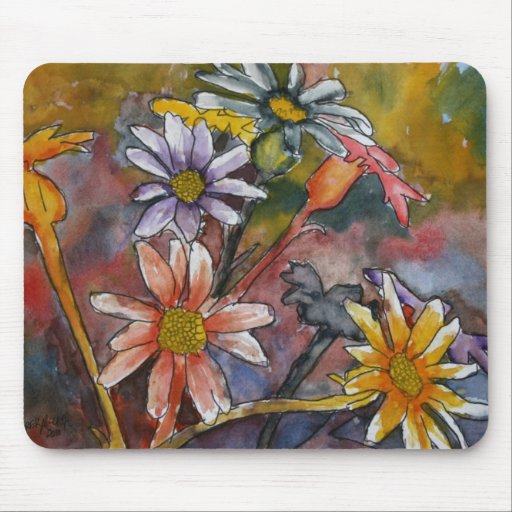 abstract daisy flowers watercolor painting art mousepad