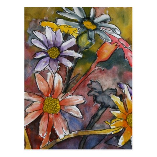 abstract daisy flowers watercolor painting art postcard